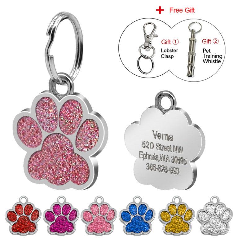 Glitter Dog Paw Print ID Keychain